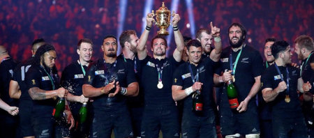 Photo of New Zealand All Blacks rugby team.